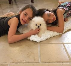The girls and their puppy, daisy