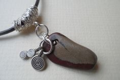 unusual Beach Pebble Sterling Silver Charm Necklace Black Leather £22.95
