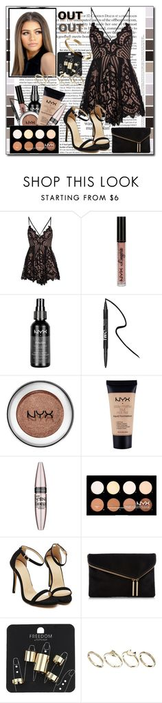 """""""Night out"""" by ana-a-m ❤ liked on Polyvore featuring NYX, Forever 21, Maybelline, Henri Bendel, Topshop and ASOS"""