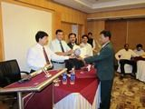 Dr. Aung Kyaw San receiving certificate of Fellowship in minimal access Surgery at World Laparoscopy Hospital. For more detail please log on to www.laparoscopyhospital.com