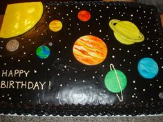 We celebrated Gavin's birthday with my family this past Sunday and we combined the party with his cousin Brigham. 9th Birthday Cake, Birthday Sheet Cakes, 6th Birthday Parties, Boy Birthday, Birthday Ideas, Solar System Cake, Planet Cake, Astronaut Party, Outer Space Party