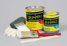 FOR DUMMIES BRAND EPOXY BATH, SINK & TILE REFINISHING KIT WITH FREE ROLLER/PAN: Another temporary solution for pink tiles in the bathroom?