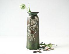 Antique Heintz Bronze Vase -  Sterling Silver Pine Cones - Pine needles - Arts and Crafts Era