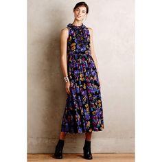 Karen Walker Marigold Maxi Dress ($540) ❤ liked on Polyvore featuring dresses, gold, flounce maxi dress, print skater skirt, ruffle dress, circle skirt and tiered ruffle dress