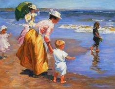 At the Beach-Edward Potthast hand-painted oil by PaintingMania