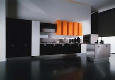 Modern Black White Orange Kitchen Kitchens Italian Style Dream