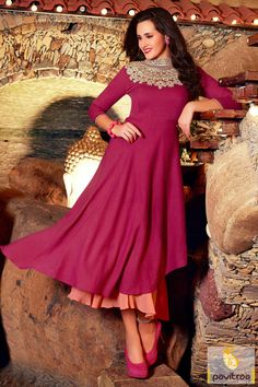 1400/- Rs, Attract look designer light dark pink stylish kurti with embroidery work of multi threaded. It is completed perfect for every occasion and evening party
