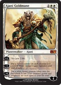 Magic: the Gathering - Ajani Goldmane - Magic 2011 by Wizards of the Coast. $11.71. A single individual card from the Magic: the Gathering (MTG) trading and collectible card game (TCG/CCG).. This is of Mythic Rare rarity.. From the Magic 2011 (M11) set.. Magic: the Gathering is a collectible card game created by Richard Garfield. In Magic, you play the role of a planeswalker who fights other planeswalkers for glory, knowledge, and conquest. Your deck of cards re...