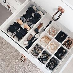 All accessories including shades organize in one drawer best way to make sure you use all your treasures! How about you do you have a tip you want to share with us. #TFCcaring on your picture. #sharingiscaring #Pinterestlessismore,closetorganization,pinterest,closetenvy,vintagefashion,closetgoal,tfccaring,thefifthcollection,prelovedfashion,sharingiscaring