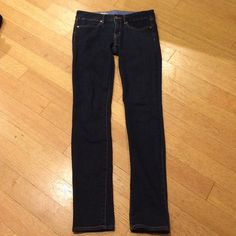 "GAP 1969 ""Always Skinny"" dark wash jeans Size 26/2r. Dark wash with gold rivets and stitching. 99% cotton and 1% elastane. Super comfy, worn maybe twice and in excellent condition. Inseam measures 31 inches. Feel free to ask me any questions GAP Jeans Skinny"