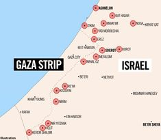 Israeli towns targeted by Hamas