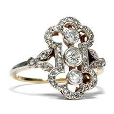 Um 1910: Antiker Belle Époque DIAMANT RING in 750 Gold & Platin, Verlobungsring