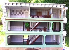 A DESIGN(er's) CHALLANGE This was my second dollhouse after 14 years, my first attempt at scale and it was an experiment to see how. Paint Shades, Shades Of Teal, Three Story House, Dollhouses, Modern Decor, Bookcase, Scale, Victorian, Exterior