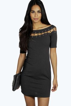 Boohoo-Womens-Lily-Lace-Up-Eyelet-Off-Shoulder-Bodycon-Dress