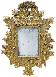 An imposing Italian baroque giltwood mirror. $15,000-20,000 Bonhams Fine European Furniture and Decorative Arts | Maine Antique Digest