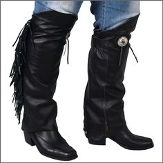 Concho & Fringe Leather Half Chaps Leg Warmers