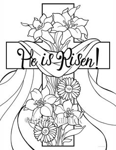 He is Risen! coloring pages Perfect for Sunday School age children, these coloring pages celebrate the resurrection of our Lord. In this images sunday school He is Risen! 2 Easter coloring pages for children Easter Coloring Sheets, Easter Colouring, Bible Coloring Pages, Adult Coloring Pages, Coloring Pages For Kids, Coloring Books, Easter Coloring Pages Printable, Sunday School Coloring Pages, Easter Coloring Pictures