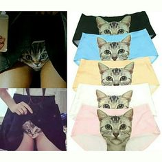Kitty kat panties Adorable, creative and funny cute ladies undergarments, brand new in original packaging Stretchy material, one size fits most Suggest for size small person One pair - black Intimates & Sleepwear Panties