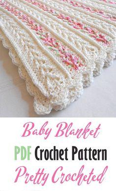 Baby Girl Crochet Blanket, Easy Crochet Blanket, Crochet Girls, Baby Girl Blankets, Knit Or Crochet, Crochet Blanket Patterns, Crotchet, Baby Patterns, Crochet Baby