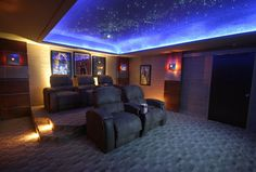 Home Theater Room Designs - Home Theater Room Designs never go out of designs. Home Theater Room Designs is usually embellished in many ways every furnishings chosen claim a thin. Home Theater Lighting, At Home Movie Theater, Home Theater Rooms, Home Theater Design, Cinema Room, Star Lights On Ceiling, Plafond Design, Ceiling Treatments, Home Movies