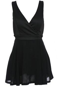 ROMWE | ROMWE Cut-out Back Black Sleeveless Dress, The Latest Street Fashion