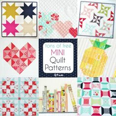 Have you ever tried to make a mini quilt? I have to say I've been quilting for a few years and I have never made a mini quilt. What is wrong with me? They are so cute, take w-aaay less time, are perfe Patchwork Quilt Patterns, Quilt Patterns Free, Pattern Blocks, Pattern Ideas, Doll Patterns, Free Pattern, Sewing Patterns, Small Quilt Projects, Quilting Projects