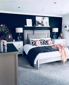 Fancy Master Bedroom Color Scheme Ideas is part of Master bedroom colors - The modern bedroom color schemes offer a huge palette that allows you to make a choice depending on the feel […] Bedroom Decorating Tips, Home Decor Bedroom, Modern Bedroom, Trendy Bedroom, Cozy Bedroom, Master Bedrooms, Blue Master Bedroom, Bedroom Ideas Grey, Navy Bedroom Walls
