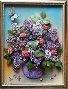 *QUILLING ~ Painting mural drawing Paper Quilling Lilac Bouquet band photo 1