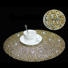 Glitter Christmas Xmas Red Silver Gold Black Placemats Coasters Table 2,4,6,8