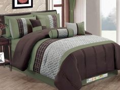 7Pc Quilted Diamond Embroidery Pintuck Striped Comforter Set Sage Brown Gray Queen *** Read more reviews of the product by visiting the link on the image.