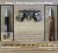 """End rings for your staffs, spears, batons, etc., to protect them from splintering, chipping, splitting.  Was used frequently on weapons in the past and were called """"ferrules"""".  Not only protects but also add and attractive look to your weapons."""
