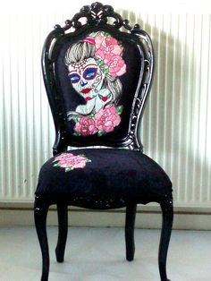 Vintage Style Chair in Gloss Black with Hand Embroidery Artwork,Day Of The Dead Gypsy Bride from milkaLOOM on Etsy. Saved to Artful things. Funky Furniture, Unique Furniture, Home Decor Furniture, Painted Furniture, Funky Chairs, Vintage Chairs, Desk Chair Target, Refurbished Chairs, Garden Lounge Chairs