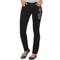 Women's SONOMA Goods for Life™ Embroidered Skinny Jeans, Size: 8 - regular, Black