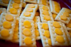 The cutest idea for food. Cheese and crackers Pizza Legos too.
