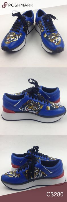 KENZO 'Flying Tiger K-Run' Leather sneakers sz 38 excellent condition there is a bruise by the ankle area Run half size smaller Blue and multicolour calf leather 'Flying Tiger K-Run' sneakers from Kenzo featuring a round toe, a lace-up front fastening, contrasting panels, a brand embossed insole, a back embossed logo stamp   Sole: Rubber 100%  Lining: Leather 100%  Outer: Calf Leather 100%, Polyamide 100%  93 Kenzo Shoes Sneakers Platform Sneakers, Slip On Sneakers, White Sneakers, Leather Sneakers, High Top Sneakers, Shoes Sneakers, Crossbody Clutch, Leather Crossbody, Floral Shoes
