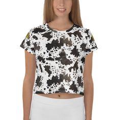 118ec02947799 Eri Cow Print White Brown Black Animal Print Outfit Crop Tee Top Women s  T-Shirt. Heidi Kimura Art LLC