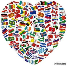 The flags of the world in the shape of a heart show unity the different…                                                                                                                                                                                 More