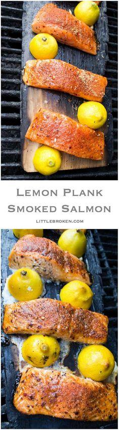 Only 10 minutes to grill this super tender and moist lemon plank smoked salmon | littlebroken.com @littlebroken