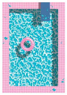 MINTY WARES | Cute graphic illustration of a pool scene from above. Jiro Bevis