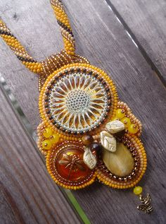 Sunflower Honey bead embroidered necklace by Miannda, via Flickr