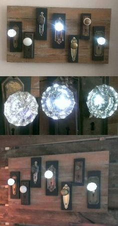 LIGHTED glass door knobs Lamp Illuminated by JackRileyLighting TAGS: LIGHTED glass doorknobs, antique crystal, vintage architectural salvage door hardware, reclaimed repurposed art deco lamp base gooseneck, fan cages