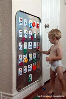 Alphabet Magnet Board from an Auto Drip Pan. Genius! Ive been looking for a magnetic play area other than the fridge and this is perfect!
