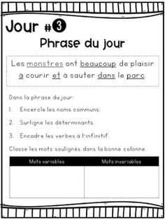 French Teaching Resources, Teaching French, School Organisation, French Worksheets, French For Beginners, Journal Writing Prompts, 3rd Grade Writing, French Expressions, French Grammar