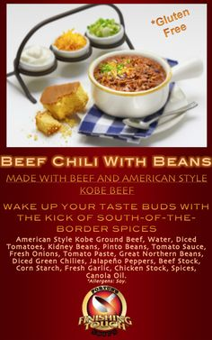 Wake up your taste buds with the kick of south-of-the-border spices. The best tasting chili you'll ever eat anywhere! #fortunfoods #food #soup #chili #comfortfood #kobe #beef #beans #kobebeef #dinner  #delicious #flavor #beefchili #lunch #glutenfree #partyidea #dinnerparty #sports #chiliwithbeans