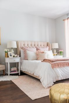 Photography: Bows & Sequins - bowsandsequins.com Read More on SMP: http://www.stylemepretty.com/living/2016/05/26/channel-your-inner-french-girl-with-a-glamorous-bedroom-makeover/