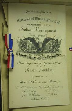 Program for reception by Citizens of Washington D.C. to Members of the National Encampment of the Grand Army of the Republic, September 22, 1892, in the Pension Building, Washington, D.C.