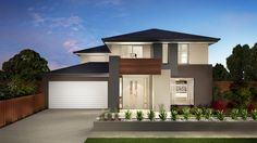 Contemporary home design. View gallery, pricing and floorplans. 2 storey, 4 bedroom, bathroom, 2 car garage up to 51 square home available to build by Carlisle Homes. Montpellier available to build in VIC Geelong New Home Buyer, First Home Buyer, Plan General, Carlisle Homes, Double Storey House, Front Elevation Designs, Facade House, House Facades, Display Homes