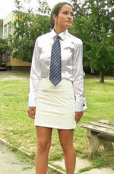 Sexy Blouse, Blouse And Skirt, Blouse Outfit, Women Wearing Ties, Suits For Women, Clothes For Women, Satin Shirt, Satin Blouses, Curvy Outfits