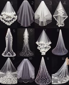 Pick your wedding veiWhich veil is your favorite?Pick your wedding veil because there are so many different styles and lengths to choose from Let us know whether you are getting married in a church or on a beach are you going for a veil? Dream Wedding Dresses, Bridal Dresses, Wedding Gowns, Bridesmaid Dresses, Bridal Veils, Wedding Dress Veil, Long Wedding Veils, Wedding Viel, Wedding Headpiece Vintage