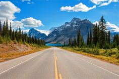 Road from Lake Louise to Jasper National Park is called the Icefields Parkway, Alberta, Canada
